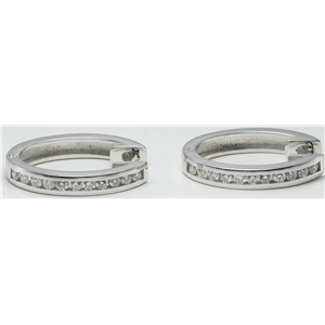 14k White Gold Round Cut Classic diamond oval hinged hoop earrings (0.55 Ct, H Color, SI2-SI3 Clarity)