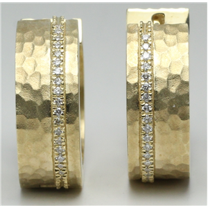 14k Yellow Gold Round Matt hammered finish diamond strip hinged wide hoop earrings (0.19 Ct, H , SI2-SI3 )
