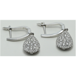 14k Yellow Gold Round Classic diamond set pear shaped motif drop earrings (0.8 Ct, H Color, SI2-SI3 Clarity)