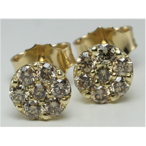 14k Yellow Gold Round Cut Cluster Set Diamond Stud Earrings (0.66 Ct, Natural Fancy Brown Color, I1 Clarity)