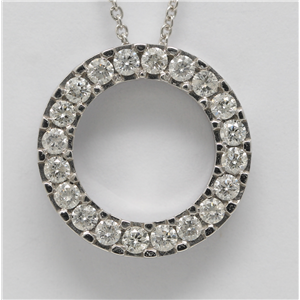 14k White Gold Round Cut diamond set circle necklace (1 Ct, H Color, I1 Clarity)