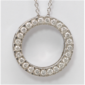 14k White Gold Round Cut diamond set circle necklace (0.5 Ct, H Color, SI2-SI3 Clarity)