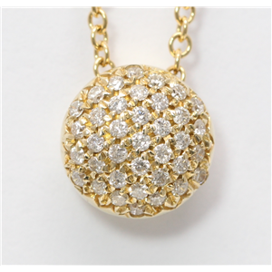 14k Yellow Gold Round Pave Setting Classic diamond set convex shaped pendant necklace (0.3 Ct, H , SI2-SI3 )