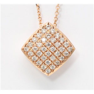 14k Rose Gold Round Pave Setting Classic diamond set square shaped pendant necklace (0.33 Ct, H , SI2-SI3 )