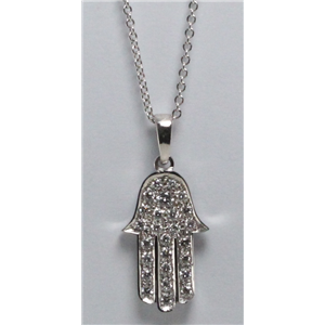 14k White Gold Round Cut Pave Setting Hamsa diamond set pendant necklace (0.33 Ct, H Color, SI2-SI3 Clarity)