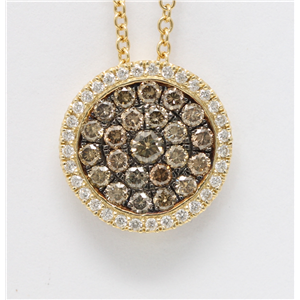 14k Yellow Gold Round Cut Pave Set Circle Diamond Necklace (0.95 Ct, Natural Fancy Brown Color, I1 Clarity)