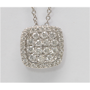 14k White Gold Round Cut diamond set cushion shape pendant necklace (0.55 Ct, H Color, SI2-SI3 Clarity)