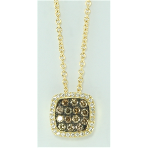 14k Yellow Gold Round Pave Set Cushion Shape Diamond Necklace (0.55 Ct, Natural Fancy Brown , I1 )