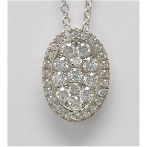 14k White Gold Round Cut diamond set oval shape pendant necklace (0.43 Ct, H Color, SI2-SI3 Clarity)