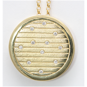 14k Yellow Gold Round Bezel Contemporary style diamond set artisan medallion pendant(0.11ct, H, SI2-SI3)
