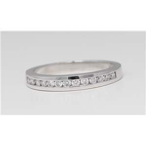 14k White Gold Round Classical channel set diamond half eternity wedding band ring (0.33 Ct, H , SI2-SI3 )