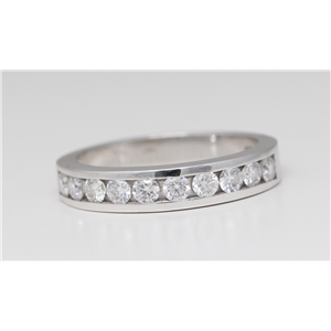 14k White Gold Round Classical channel set diamond half eternity wedding band ring (0.75 Ct, H , SI2-SI3 )