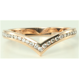 14k Rose Gold Round Classic chevron design wishbone V shaped diamond ring (0.28 Ct, H Color, SI2-SI3 Clarity)