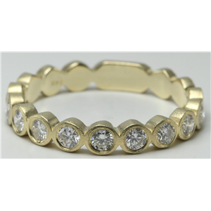 14k Yellow Gold Round Bezel Ten stone bezel set diamond half eternity wedding b& ring(0.5ct, H, SI2-SI3)