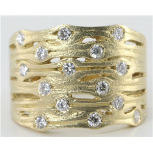 14k Yellow Gold Round Bezel Setting Contemporary diamond wide wedding band ring (0.45 Ct, H , SI2-SI3 )