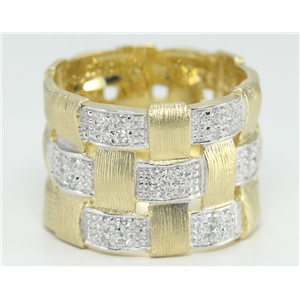 14k Two Tone Gold Round Modern basket weave design artisan ring with diamond strip motif(0.28 Ct, H, SI2-SI3)