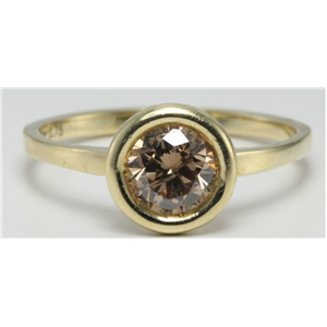 14k Yellow Gold Round Diamond Bezel Setting Modern bezel set ring(0.75ct, Natural Fancy Brown, I1)