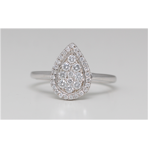 14k White Gold Round Classic diamond set pear shaped motif engagement ring (0.4 Ct, H Color, SI2-SI3 Clarity)