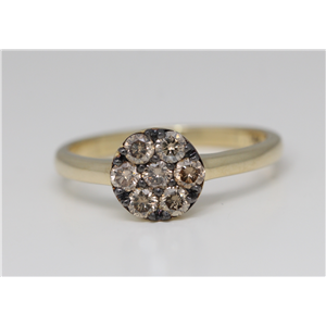 14k Yellow Gold Round Cut Diamond Cluster Set Engagement Ring (0.5 Ct, Natural Fancy Brown Color, I1 Clarity)