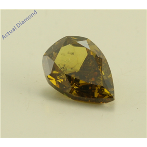 Pear Cut Loose Diamond (1.26 Ct, Natural Fancy Dark Brown Greenish Yellow Color, SI3 Clarity) GIA Certified