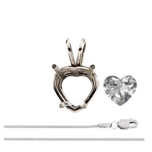 Heart Diamond Solitaire Pendant Necklace 14k White Gold ( 0.71 Ct, G Color, I1(K.M) Clarity)