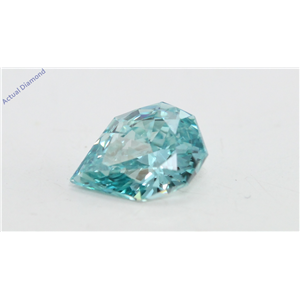 Pear Empress Cut Loose Diamond (0.52 Ct, Light Blue(Irradiated) Color, VVS1 Clarity)