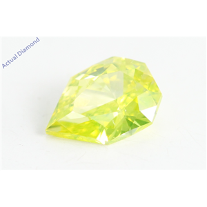 Pear Empress Cut Loose Diamond (0.53 Ct, Yellow(Irradiated) Color, VVS2 Clarity)