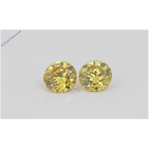 A Pair of Round Cut Loose Diamonds (0.62 Ct, Natural Fancy Vivid Yellow Color, VVS2 Clarity) IGL Certified