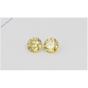 A Pair of Round Cut Loose Diamonds (0.41 Ct, Natural Fancy Vivid Yellow Color, VVS2-VS1 Clarity) IGL Certified
