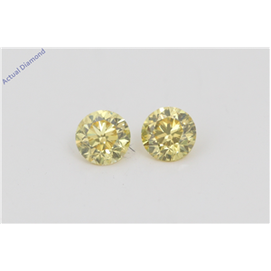 A Pair of Round Cut Loose Diamonds (0.39 Ct, Natural Fancy Vivid Yellow Color, VVS2 Clarity) IGL Certified