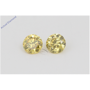 A Pair of Round Cut Loose Diamonds (0.38 Ct, Natural Fancy Vivid Yellow Color, VVS1 Clarity) IGL Certified