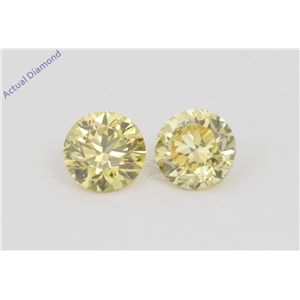A Pair of Round Cut Loose Diamonds (0.51 Ct, Natural Fancy Vivid Yellow Color, VVS2 Clarity) IGL Certified