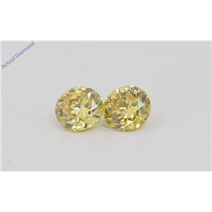 A Pair of Round Cut Loose Diamonds (0.42 Ct, Natural Fancy Vivid Yellow Color, VVS2-VS1 Clarity) IGL Certified