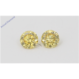 A Pair of Round Cut Loose Diamonds (0.41 Ct, Natural Fancy Vivid Yellow Color, VVS2 Clarity) IGL Certified