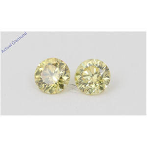 A Pair of Round Cut Loose Diamonds (0.6 Ct, Natural Fancy Vivid Yellow Color, VVS2 Clarity) IGL Certified