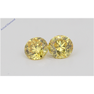 A Pair of Round Cut Loose Diamonds (0.63 Ct, Natural Fancy Vivid Yellow Color, VVS2 Clarity) IGL Certified