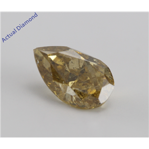 Pear Cut Loose Diamond (1.26 Ct, NATURAL FANCY DEEP BROWNISH YELLOW, I2) GIA Certified