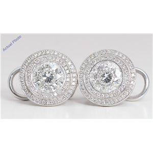 18k White Gold Round Invisible Setting Classic modern sundial style diamond earrings (2.42 Ct, G , VVS )
