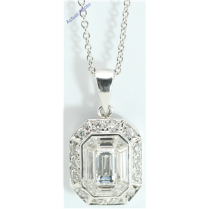 18k White Gold Emerald & Round Medici shape exclusive illusion set diamond pendant(1.07ct, G, VVS)