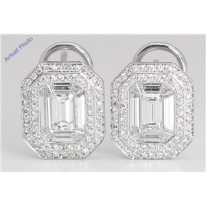 18k White Gold Emerald & Round Medici shape exclusive illusion set diamond earrings(2.86ct, G, VVS)