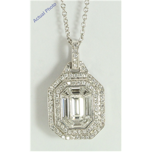 18k White Gold Emerald & Round Medici shape exclusive illusion set diamond pendant(1.51ct, G, VVS)