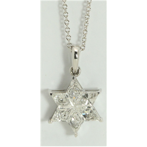 18k White Gold Kite Invisibly Set Six pointed elegant Star of David shield diamond pendant(1.1ct, G, VVS-VS)