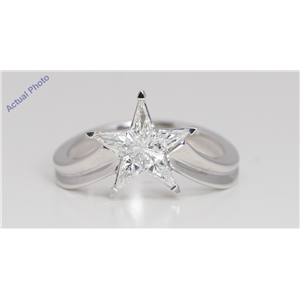 18k White Gold Kite Invisible Setting Modern classic five-pointed star exclusive Ring(0.58ct, F-h, VS)