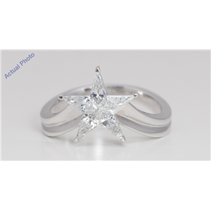 18k White Gold Kite Invisible Setting Modern classic five-pointed star exclusive Ring(0.8ct, D-f, VS-SI)