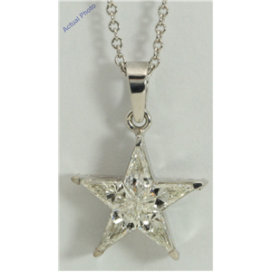18k White Gold Kite Invisibly Set Modern classic five-pointed star exclusive diamond pendant(0.76ct, H, VVS)