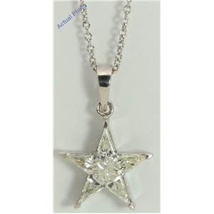 18k White Gold Kite Invisibly Set Modern classic five-pointed star exclusive diamond pendant(0.78ct, H, VVS)