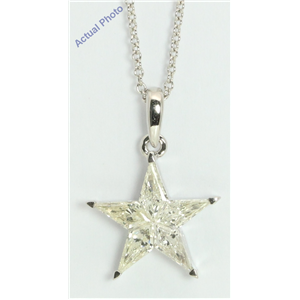 18k White Gold Kite Invisibly Set Modern classic five-pointed star exclusive diamond pendant(0.76ct, I, VVS)