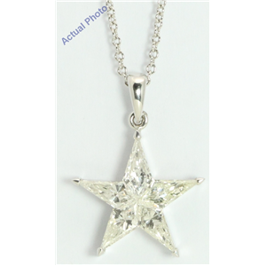 18k White Gold Kite Invisibly Set Modern classic five-pointed star exclusive diamond pendant(1ct, G-h, VVS)
