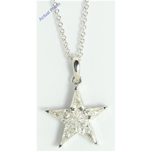 18k White Gold Kite Modern classic five-pointed star exclusive diamond pendant(1.24ct, G, VS-SI)