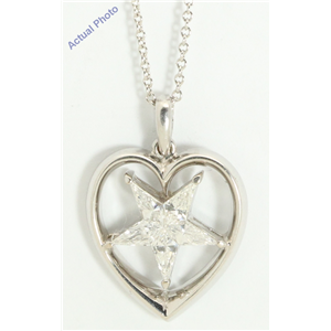 18k White Gold Kite Elegant five-pointed diamond stars set in heart-shape pendant(0.62ct, E-f, VVS)